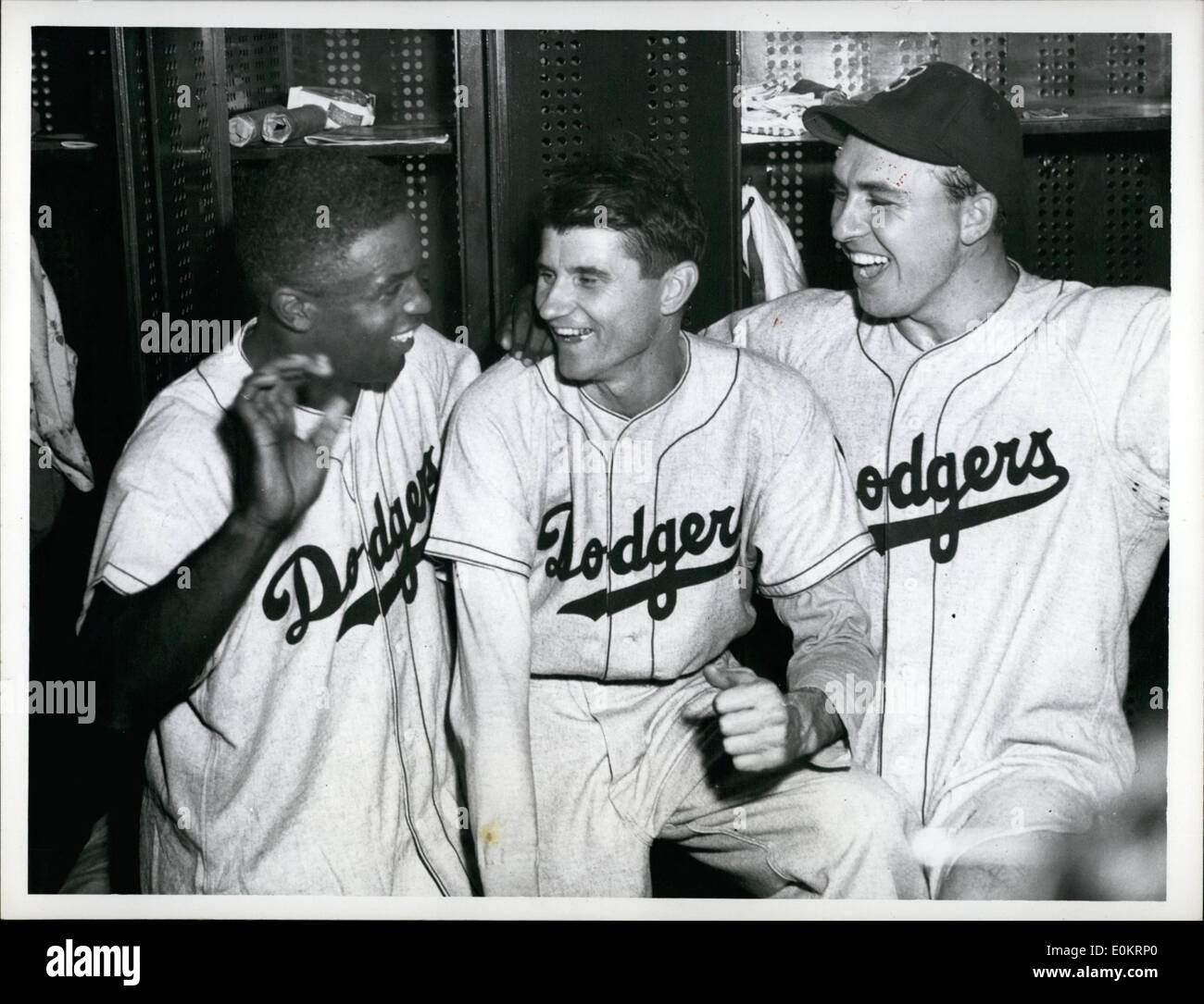 Jun. 06, 1949 - Dodger Daty At '49 Series. New York: Here are the three big guns in the Dodger victory over the Yanks today - to even the series at one all. L - R: Jackie Robinson who doubled, Preacher Roe who shut out the Yanks and Gil Hodges who dro Robinson in with the only run of the game. - Stock Image