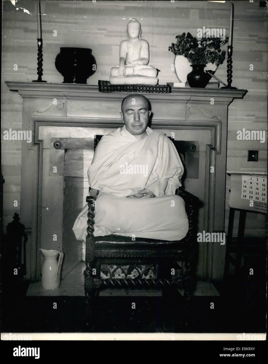 Aug. 08, 1949 - He sleeps anywhere but never in bed. 51-year old Buddhist Missionary in London.; In London is 51-year old Buddhist missionary, The Venerable Lokanatha, a shaven-headed monk who wears yellow ropes and sandals. He was born near Naples but was taken to America at the ago of four. To strenghten him against too much dependence on bodily comfort he has not slept in a bed for sixteen years. On his journey to England in the Queen mary he spent the nights in a chair in the   . He has established centres of Buddhism in New York, St - Stock Image