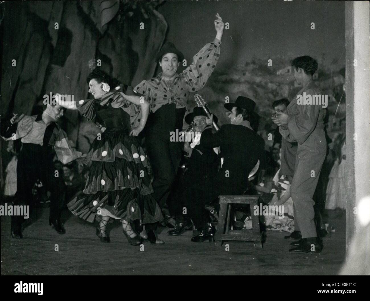 Dec. 12, 1949 - Luis Mariano in Belle De Cadix new version. The famous French crooner Luis Mariano stars in the new version of the well-known musical comedy La Belle De Cadix . He is seen here with his partner Miralda performing a Spanish dance. Dec. 18/49 - Stock Image