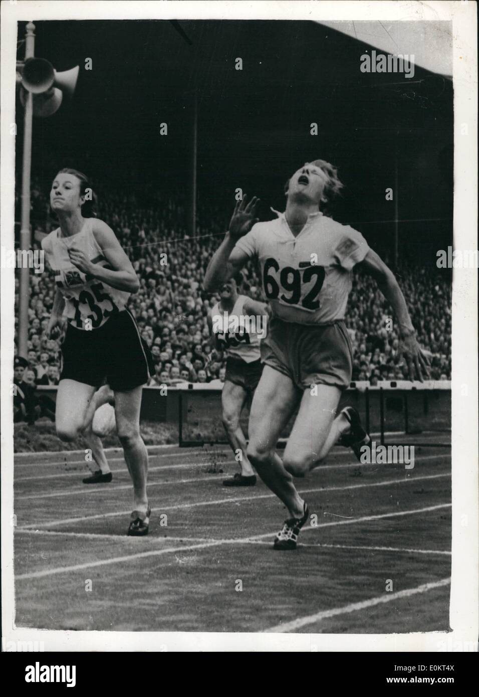 Aug. 08, 1948 - Athletics at the Thee Stadium.: Photo shows The se finish of the 80 metres Hurdles nal won by  Blankers-Koen (Holland) ( M.A.J. Gardner (G.B) (735) - Stock Image