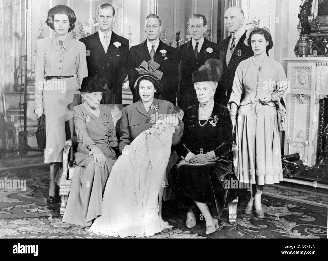 Members of the Windsor Royal Family along with King Haakon VII - Stock Image