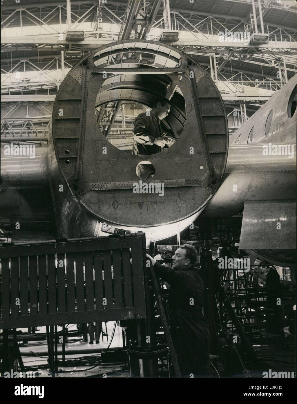 Jan 1, 1950 - Building the Britannia Air Liner :At work on one of the four engine cradles for the Britannia. The plane is powered by four Proteus turboprop engines. The Proteus has been established by recent tests to be one of the cheapest-to-run aircraft engines in the world. (exact date unknown) - Stock Image