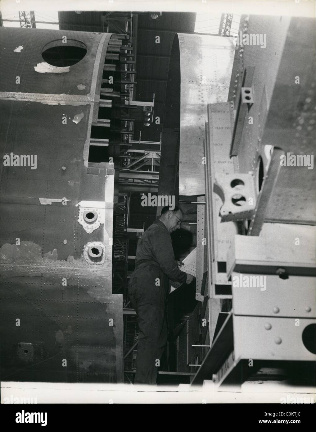 Jan 1, 1950 - Building The Britannia Air Liner: Two parts of the fuselage for the Britannia ready for joining together. The metal on the outside is covered with a fine protective layer of rubber solution which is later stripped away for  polishing. (exact date unknown) - Stock Image
