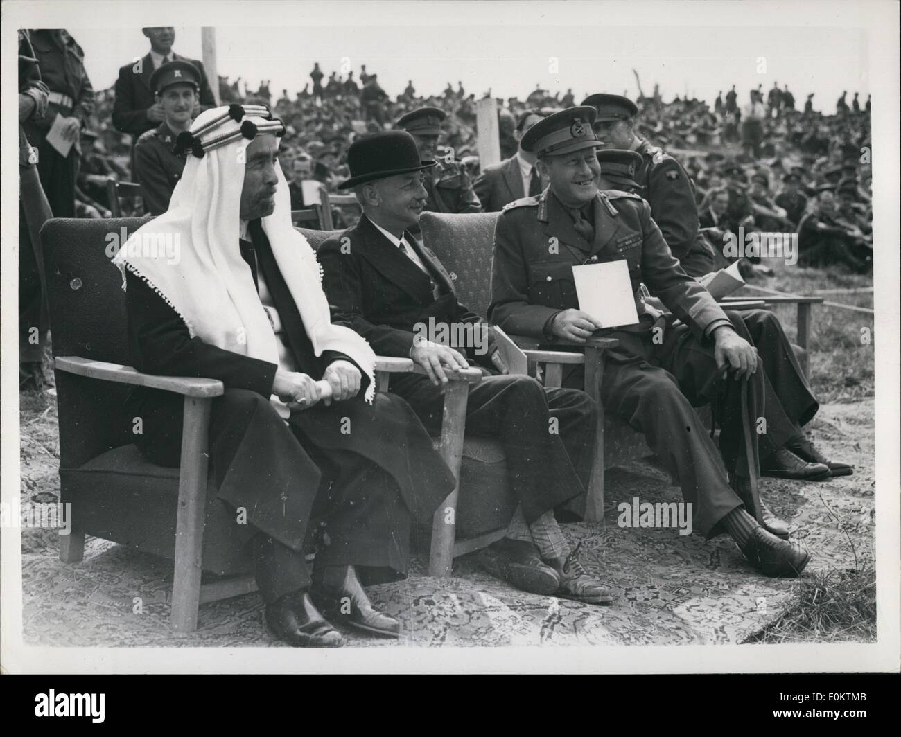Jan 1, 1950 - King Abdullah And Colonel Glubb Pasha rdan Military Manouvres On Salisbury Plasi: King Abdullah of Trans Jo 49 Colonel Glubb Pasha Commancer of the Arab were among the dignitarisa watch the d ''(Illegible)'' ion or an ''attack'' on the village of Imber ''(Illegible)'' At plain. The ''attack'' for which lite ammunition ''(Illegible)'' is burry was organized by the School of Infantry at Wa ''(Illegible)'' used ''(Illegible)''. Photo shows Watching the manoeuvres afternoon - Left to Right:- King Abdullah; onle Glubb Pasha and General R.N - Stock Image