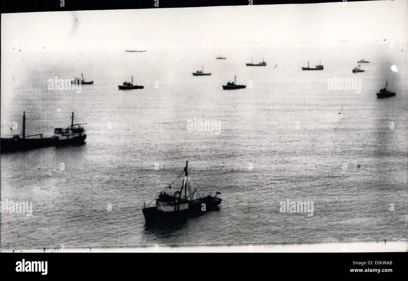 May 05, 1950 - AND STILL THEY COME... SOVIET FLEET OF FISHING VESSELS IN THE CHANNEL.. More Soviet ships, travelers and coasters of Russia's Baltic fishing fleet arrived in the Channel. Two flotillas are anchored in the mouth of the Helford River, near Falmouth, and it is estimated that in all between 30 and 40 vessels are bound for the Black Sea. Admiralty experts are examining the latest reports of Russian vessels in the area... A Russian officer aboard one of the vessels denied that the vessels were there to spy on the Navy - and said that they were just ''fishing''. - Stock Image