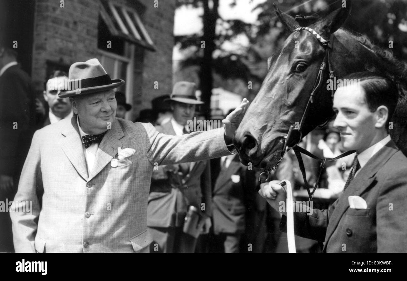Sir Winston Churchill pets horse at races - Stock Image