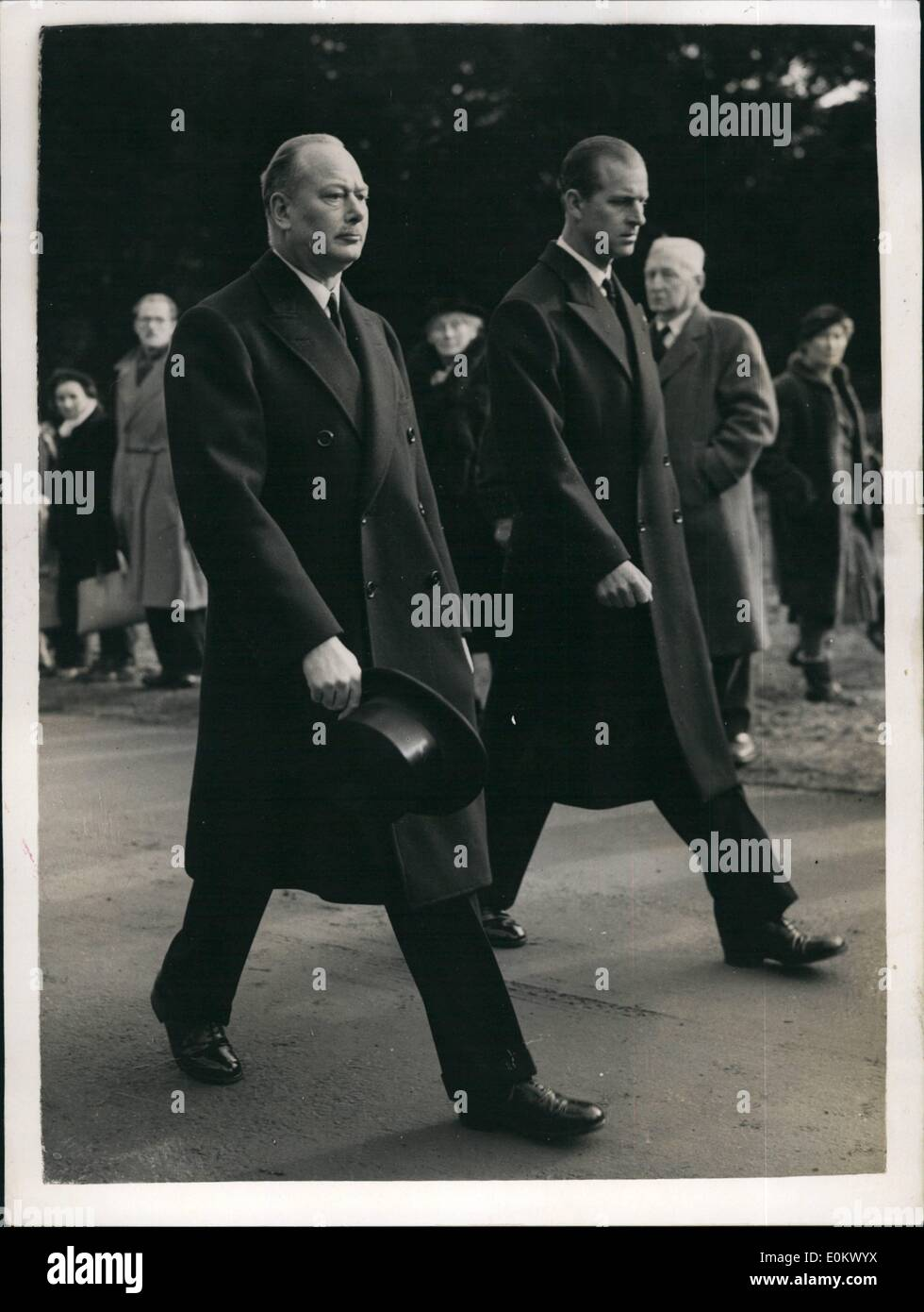 Feb. 02, 1952 - Duke of Edinburgh and Duke of Gloucester in procession, Kings Body on way to London; Photo Shows Following the Gortege as it left the Chapel for Waterloo Station is the Duke of Edinburgh and the Duke of Gloucester today. - Stock Image