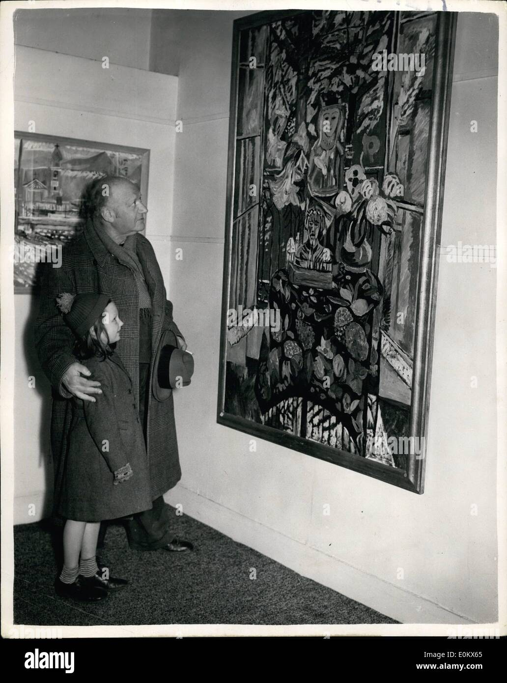Mar. 03, 1952 - Epstein attends opening of Theodore Garman's exhibition: Jacob Epstein, who has lent two pictures to the second - Stock Image