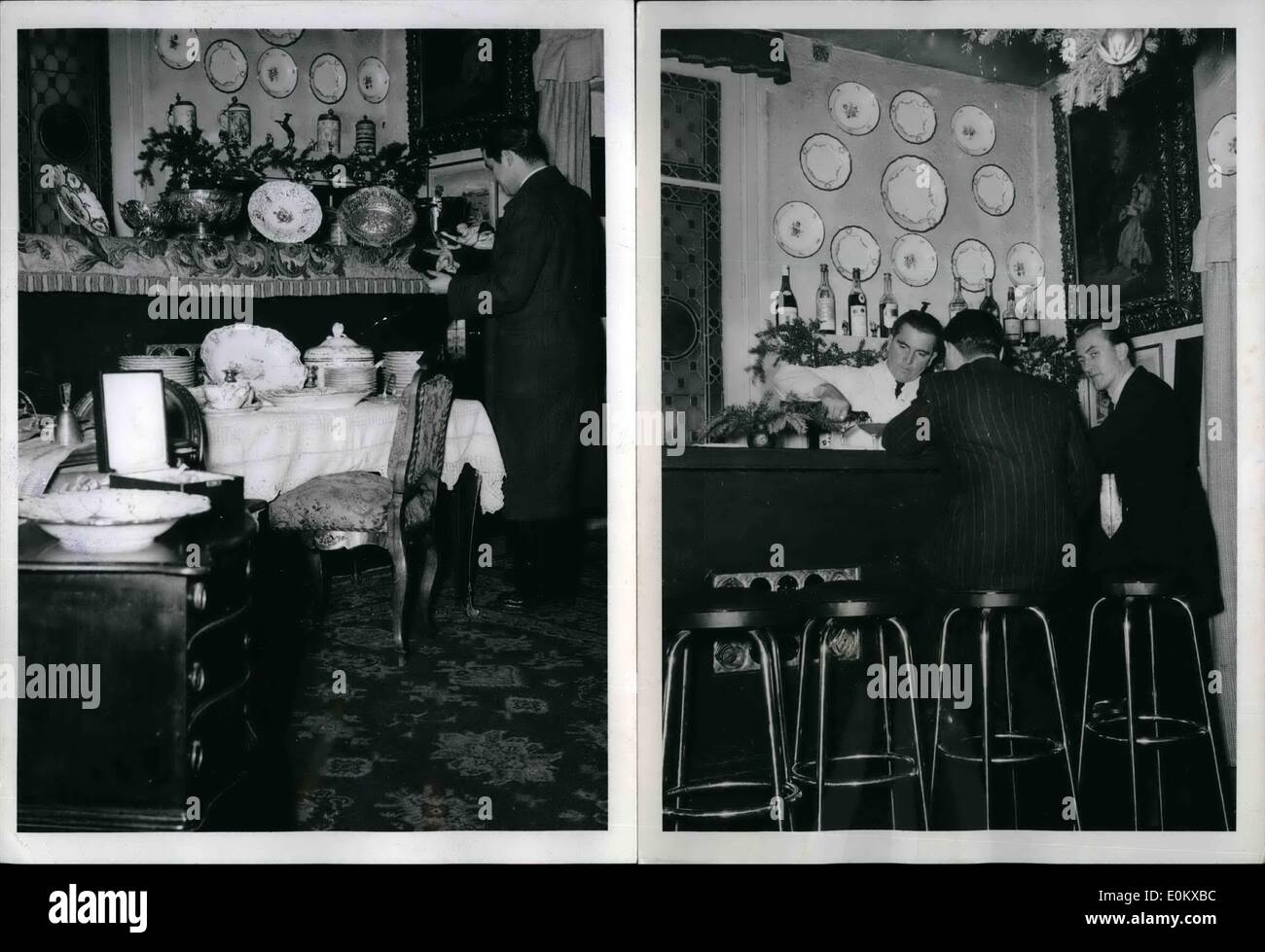 Dec. 12, 1950 - During the day, Fritz Weber's antique shop in Frankfurt is the home of valuable art treasures that he sells to an international clientele, but at night, as pictured on the right, the antique shop becomes a bar. Sammy Davis & Bluebell Girls, Lido Cabaret, - Stock Image