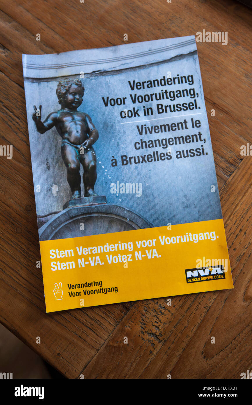 Belgian Federal Elections 2014:NVA Right Wing Nationalist Flemish party brochure. - Stock Image
