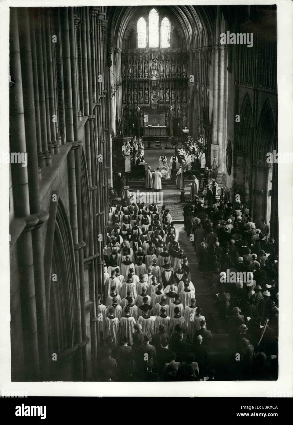 May 05, 1952 - Consecration of New Bishop: The consecration of the Re. William Percy Gilpin, M.A., ( Missioner of Gloucester o, as Bishop Suffragan of Kingston - upon Thomas, by the Arch Bishop of Centerbury (Dr. Fisher), took place today at Southwark Cathedral. Photo shows General view inside the cathedral, during the consecration ceremony. - Stock Image