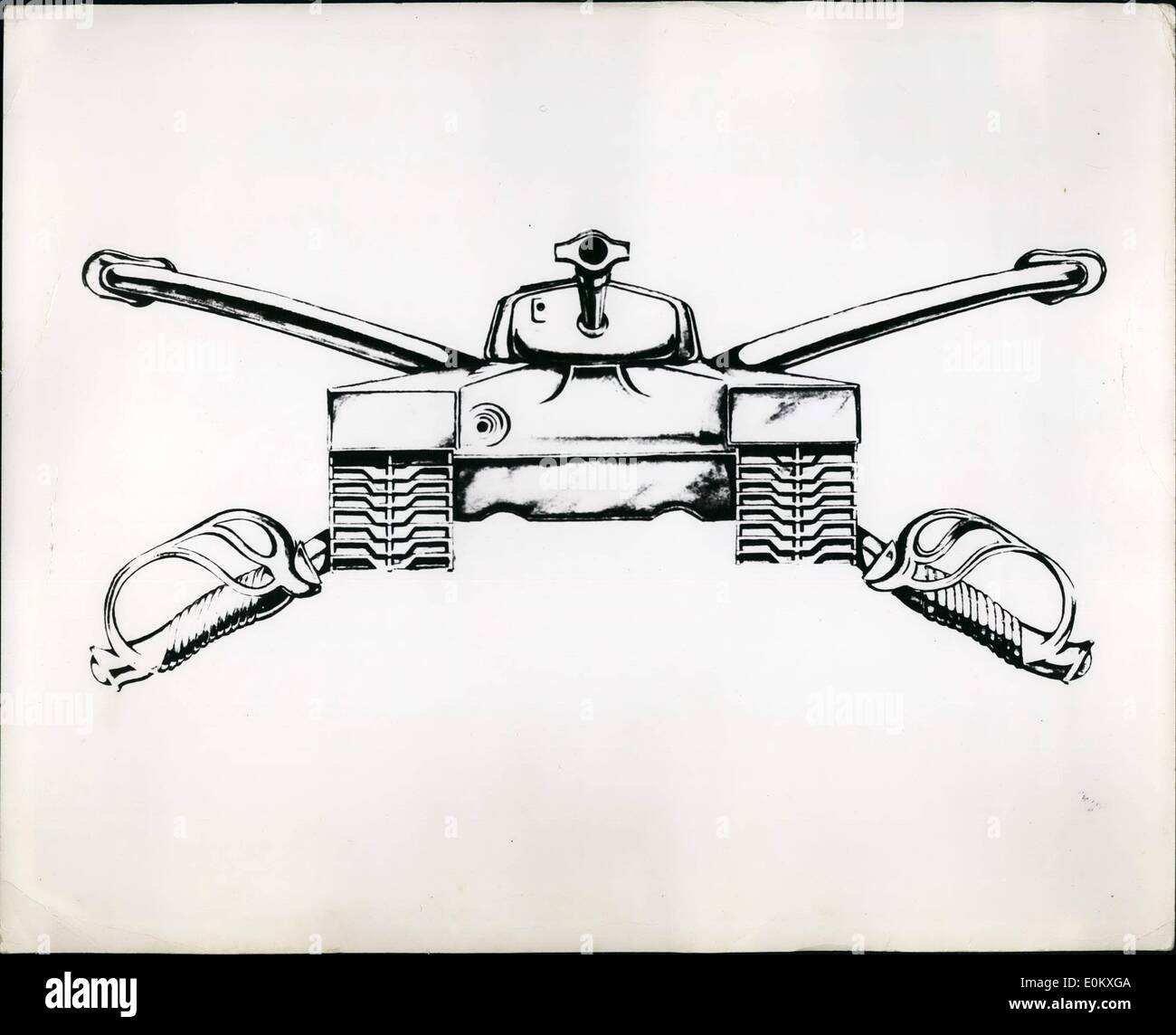 Jan. 01, 1951 - New Insignia army's armor brace This is an artist's drawing of the insignia which wile be adopted by the armor branch of the U.s. Army. Under provisions of the army organization act of 1960. The cavalry branch was replaced by the armature branch. the new design is composed of a airport view of them -26 tank (original version o the Patton tank) with gun slightly raised and superimposed on two crossed cavalry sabes in scabbards with cutting edce up. the insignia is gold coloured - Stock Image