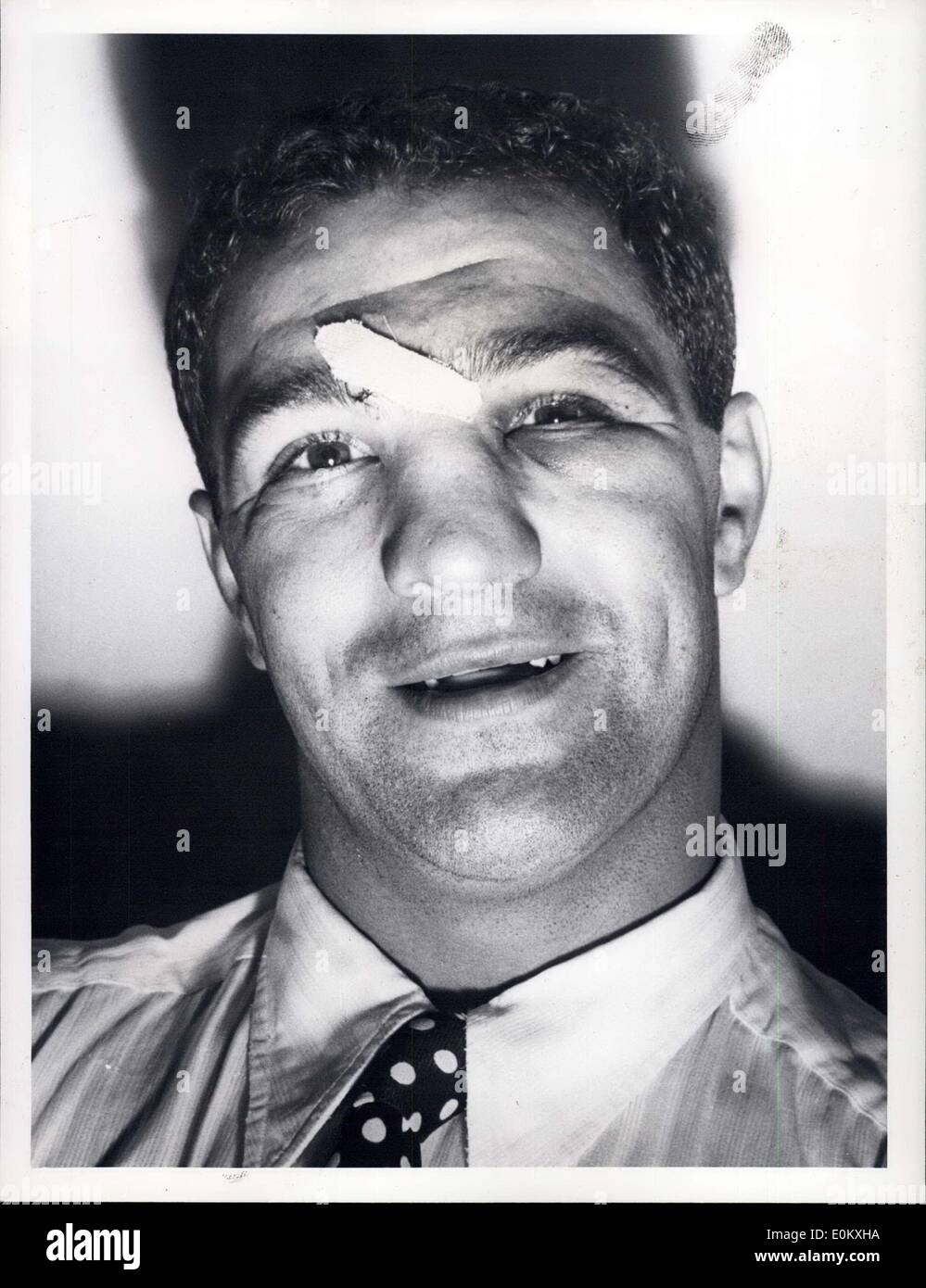 Sep. 26, 1952 - New Heavy Weight ''Champ'' New York, N.Y.: Rocky Marciano relaxing at the Belmont Plaza Hotel, N.Y. after knocking out Joe Walcott at Phila. - Stock Image