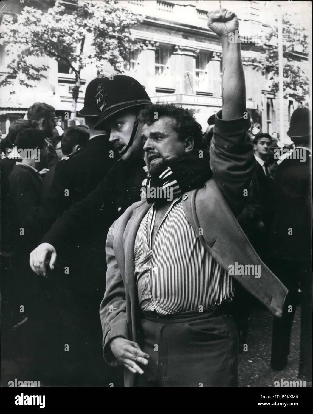 Jul. 07, 1952 - Reds Break up British Fascist Meeting.: Communist's broke-up a meeting of the Union Movement (British Fascists) - Stock Image