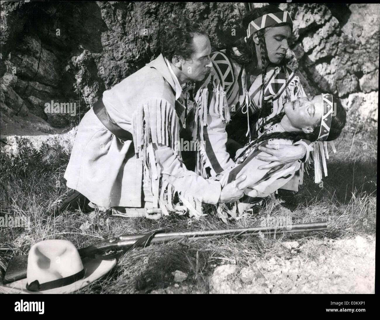 Aug. 06, 1952 - The Winnetou play came to Bad Segeberg in Germany on 8-16-1952. Pictured here is a scene from the play in which - Stock Image