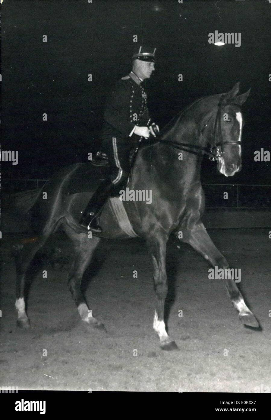 Oct. 18, 1952 - Olympic Champion's fine display at Paris Horsemanship show: Major Saint-CYR (of the Swedish army) Olympic champion giving a display of fine horsemanship at the palais des sports, Paris, last night. - Stock Image