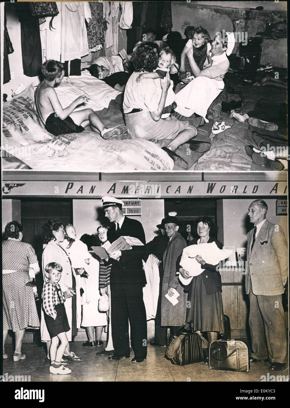 Sep. 09, 1952 - U.S. Airlines help German refugees.: American airlines offer to all German refugees who are in possession of a proper document indicating that they were expelled from the Soviet zone, a gratuicious flight from West Berlin to West Bermany. German refugees, consequently have to pay only two third of the price to be paid by other well - do - air passengers. The price amounts to 64.00 Deutschmarks, this is equal to the price to be paid for the railroad. Effective September 1st, 1992, each and every American plane has twenty reserved seats for the refugees - Stock Image