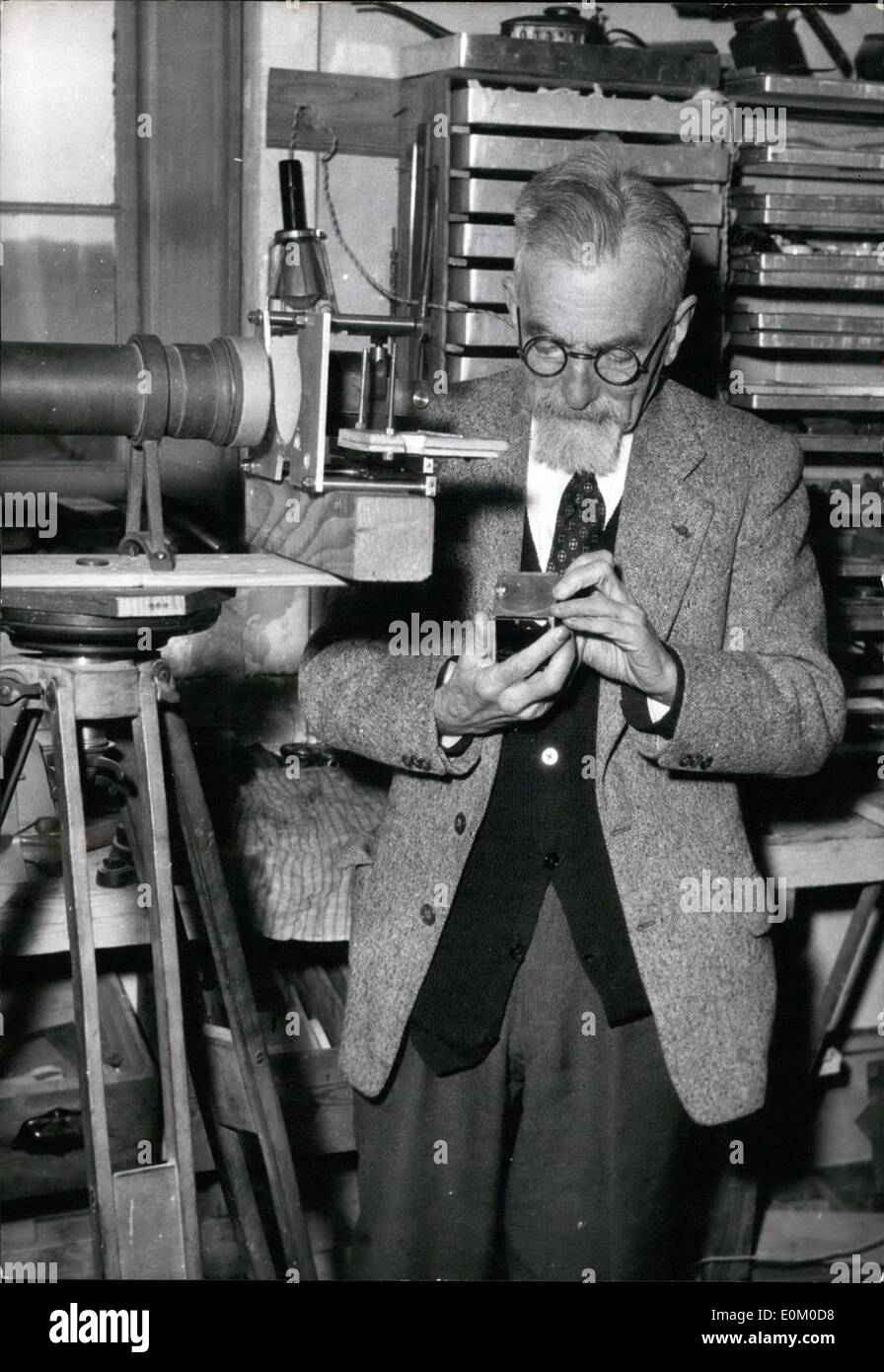Feb. 02, 1953 - French Inventor Sells ''Cataphot'' Patent To 20th Century: Professor Henri Chretien Photographed In His Workshop-Laboratory At Nice.He Has Sold The Patent Of Cataphot (Films In Relief) To The 20th Century. - Stock Image