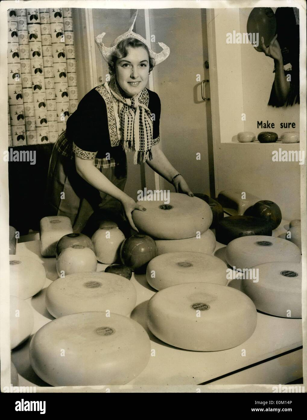 Mar. 02, 1953 - 2-3-53 Preview of the Ideal Home Exhibition. Dutch cheese.  Photo Shows: Ann Tigwell aged 22 of Chingfor - Stock Image