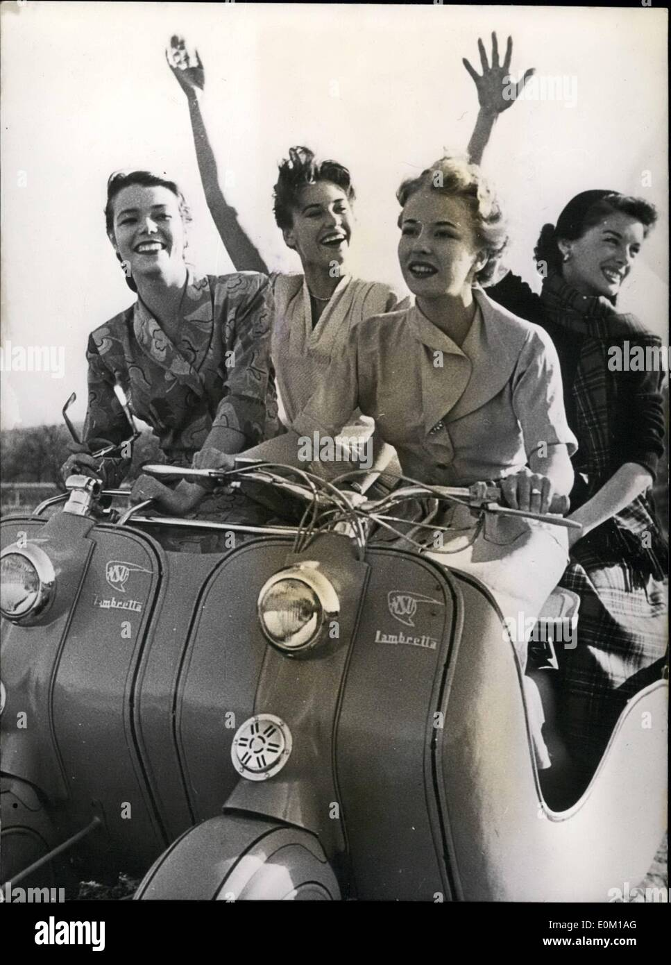 Mar. 03, 1953 - the couple-Lambretta-skooter is coming!: There were many attempts during the last years to bring Stock Photo