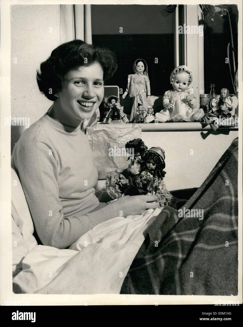 Mar. 03, 1953 - The girl from Australia who laughs at Disaster: Six months ago seventeen year old Claire Stacy travelled with her mother from Adelaide, Australia to England for operations on the amputation of both legs and the fitting of artificial limbs - at the Roehampton Hospital.. A fund was started in Adelaide to pay for the operation and journey - for Claire, who is the second eldest of a family of four has had trouble with her legs since childhood, owing to a rare breakdown in her bodily chemistry her bones would not set properly - Stock Image