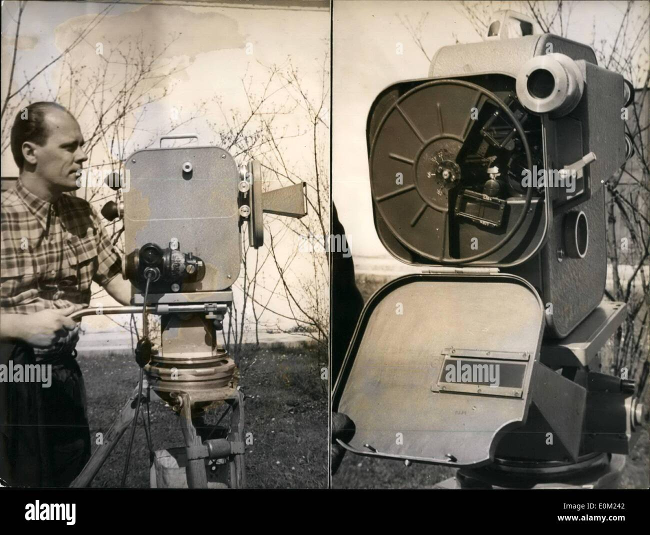 Apr. 04, 1953 - Geiselgasteig takes colour-3-dimensional pictures. Europe's most up to-date and most expensive camera is presently to be seen on the Geiselgasteig film grounds. The new ''stero-camera'' a Zeiss Ikon, was developed by scientists in more than 20 years of research. Kurt Gewissen, the experienced man from Hamburg will practice a colour 3-dimensional film, in order to take advantage of this camera. Margot Mielscher and Wastl Witt play the dominate role in connection with the famous October Festival. Our pictures show: Left: Kurt Gewisson working on the plastic Zoiss Ikon camera - Stock Image