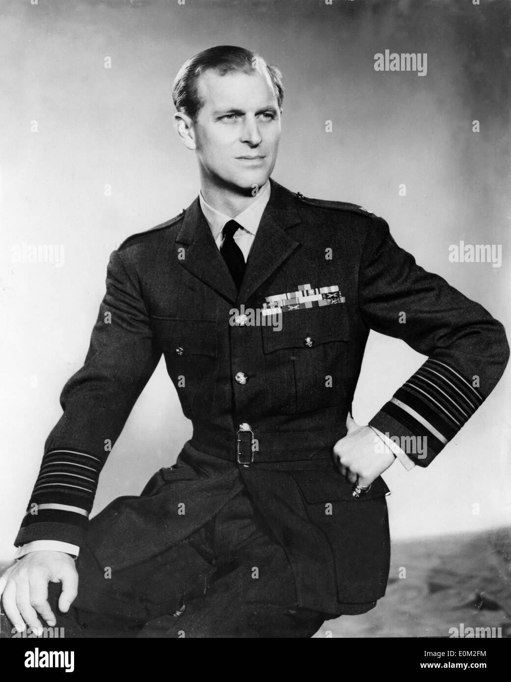 Portrait of Prince Philip in his Marshall uniform for the Royal Air Force - Stock Image