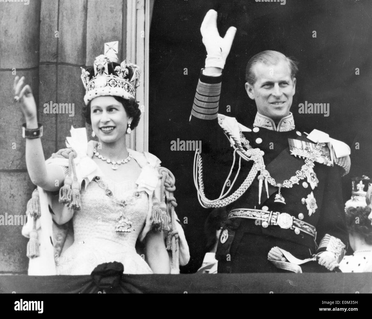 Queen Elizabeth II and Prince Philip after her coronation - Stock Image