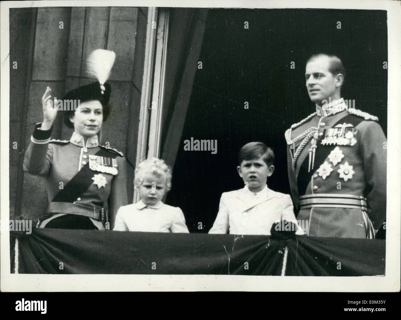 Jun. 06, 1953 - TROOPING THE COLOUR CEREMONY... SALUTING FROM THE PALACE BALCONY.. Queen Elizabeth II took the salute at the Trooping the Colour ceremony on Horse Guards Parade today. The occasion marked the Queen's official birthday. The Colour trooped was that of the First Battalion, the Grenadier Guards. The Queen wore the uniform of Col-in-Chief of the Regiment, a scarlet tunic, dark blue riding skirt and a tricorne hat with the Bold Badge and White Plume of the Grenadiers. - Stock Image