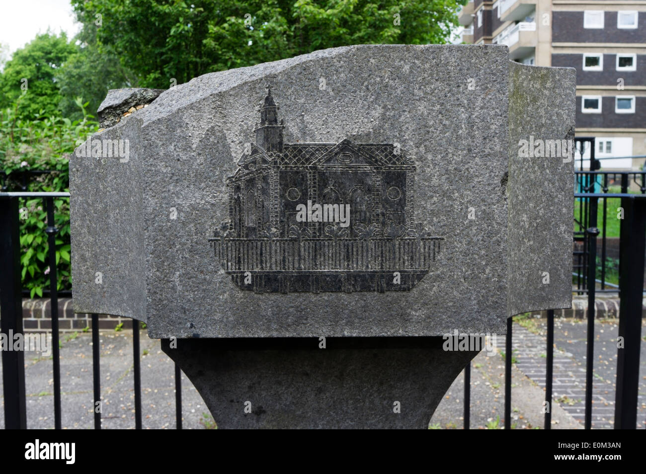 A stone in Swedenborg Gardens, Tower Hamlets, commemorates the first Swedish church in London. - Stock Image