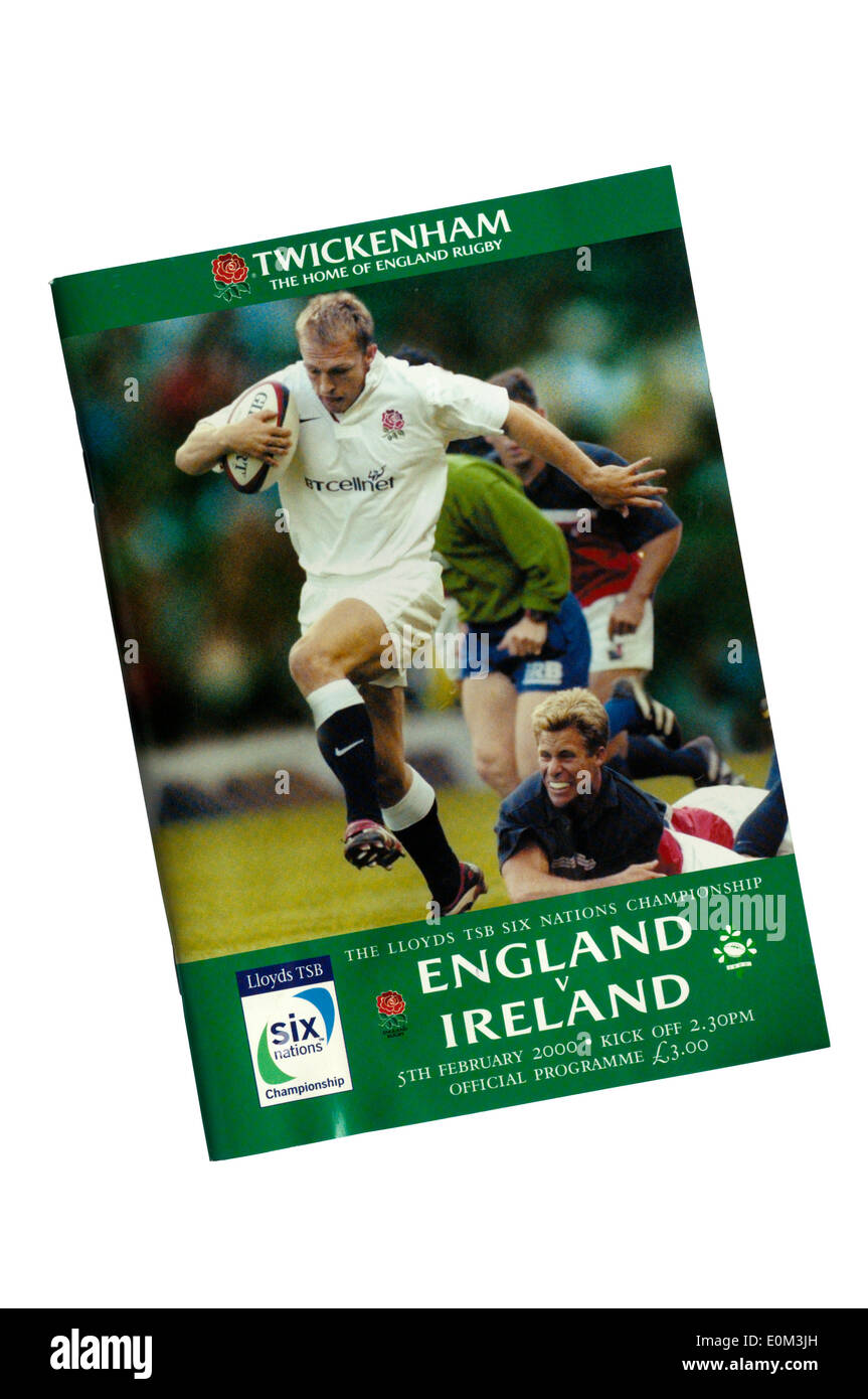 Programme for the 2000 Six Nations England v Ireland Rugby match at Twickenham. - Stock Image