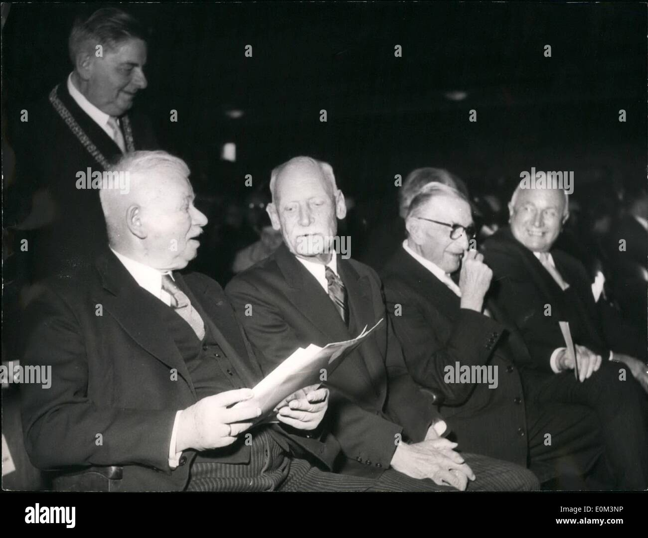 May 05, 1953 - 50th Anniversary Of The ''Deutschers Museum'' (German Museum): At The Occasion Of The 50th Anniversary Of The German Museum In Munich. A Festival Was Held In The Great Festival Hall Of The German Museum. Many Prominent Members Attended The Festival. Photo shows (From left to right):- Zeneck, A Well-Known Bavarian Privy Councillor; Crown Prince Rupprecht Of Bavaria; Herr Reusch, Director; And Herr Schubert, Minister. Behind Herrr Zeneck (Standing) Is Professor San Niccolo, The Rector Of The Munich University. - Stock Image