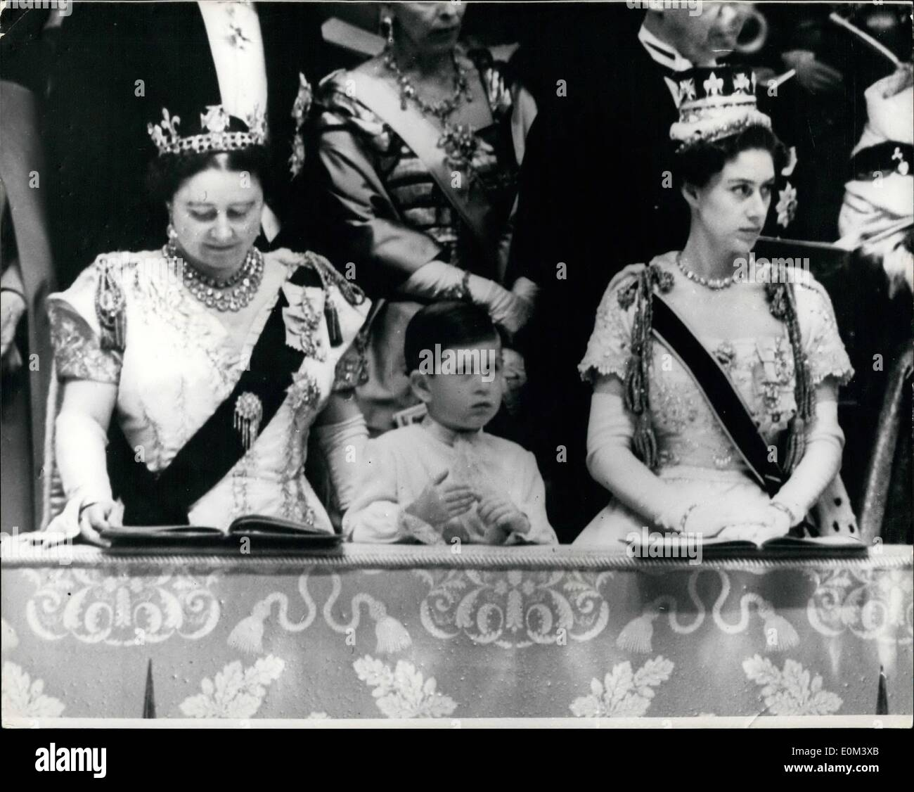 06, 1953 - Coronation of Queen Elizabeth II in Westminster Abbey, Prince  Charles watches the ceremony. Photo Shows: Prince