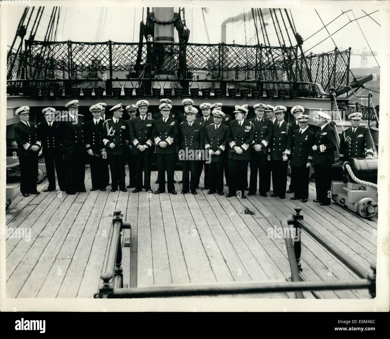 Jun. 06, 1953 - Fleet Review Guests Visit H.M.S Victory At Portsmouth. Officers Aboard H.M.S. Victory.. Officers form the visiting warships now assembled off Portsmouth for next week's Fleet Review by H.M. The Queen - were invited aboard H.M.S. Victory for lunch this afternoon.. Keystone Photo Shows:- Group of visiting officers aboard the Victory today.. They are L-R: Rear Admiral G.W.G. Simpson, Flag Officer Subs; Captain O.I. Rudakov of Russia; Commander C.O. Herlofsen (Norway); Captain G.G.A.B. de Mark (Sweden); Vice Admiral J.Wright (USA); Admiral Sir John Edelsten (C. in C - Stock Image