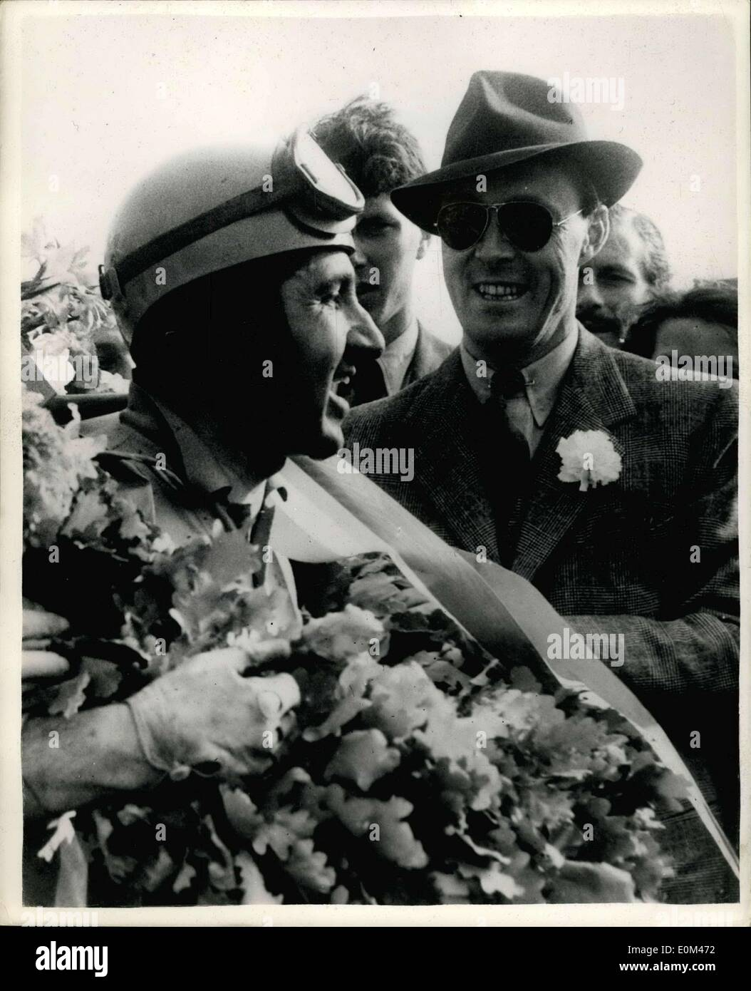 Jun. 09, 1953 - Prince Bernhard of the Netherlands Congratulates Ascari - Winner of the Granprix.: Prince Bernhard of the Netherlands congratulates Ascari - after the latter had won the Gran Prix of the Netherlands on the Circuit of Zandvcort. Holland. Stock Photo