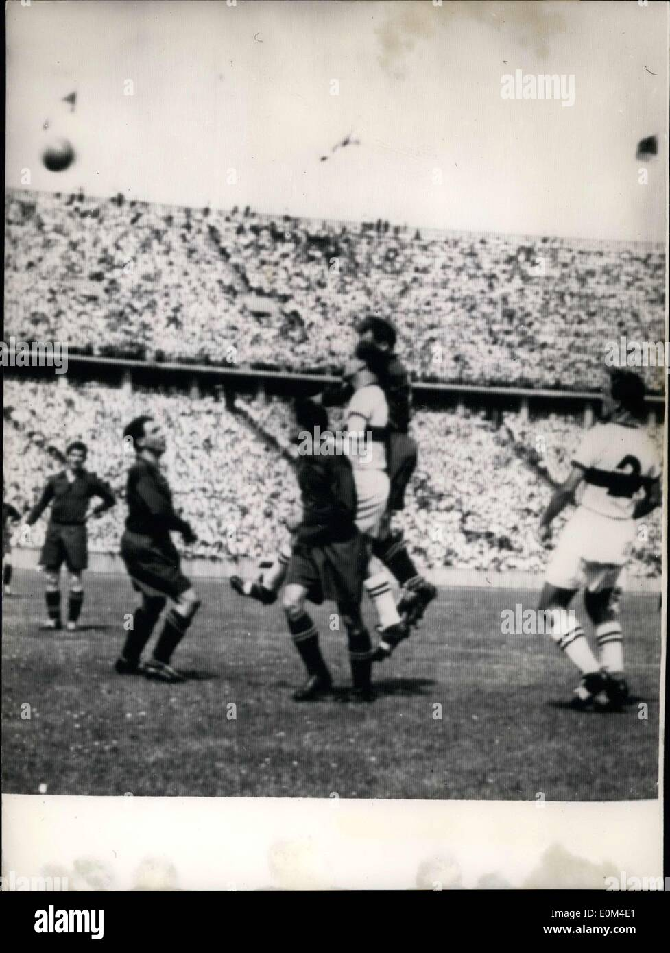 Jun. 21, 1953 - Final game of the German soccer championship in Berlin! In Berlin Olympic Stadium this afternoon two teams, FC Kaiserslautern and VfB Stuttgart will compete in the final round of the German soccer championship. Our picture shows a scene in the goal area. - Stock Image