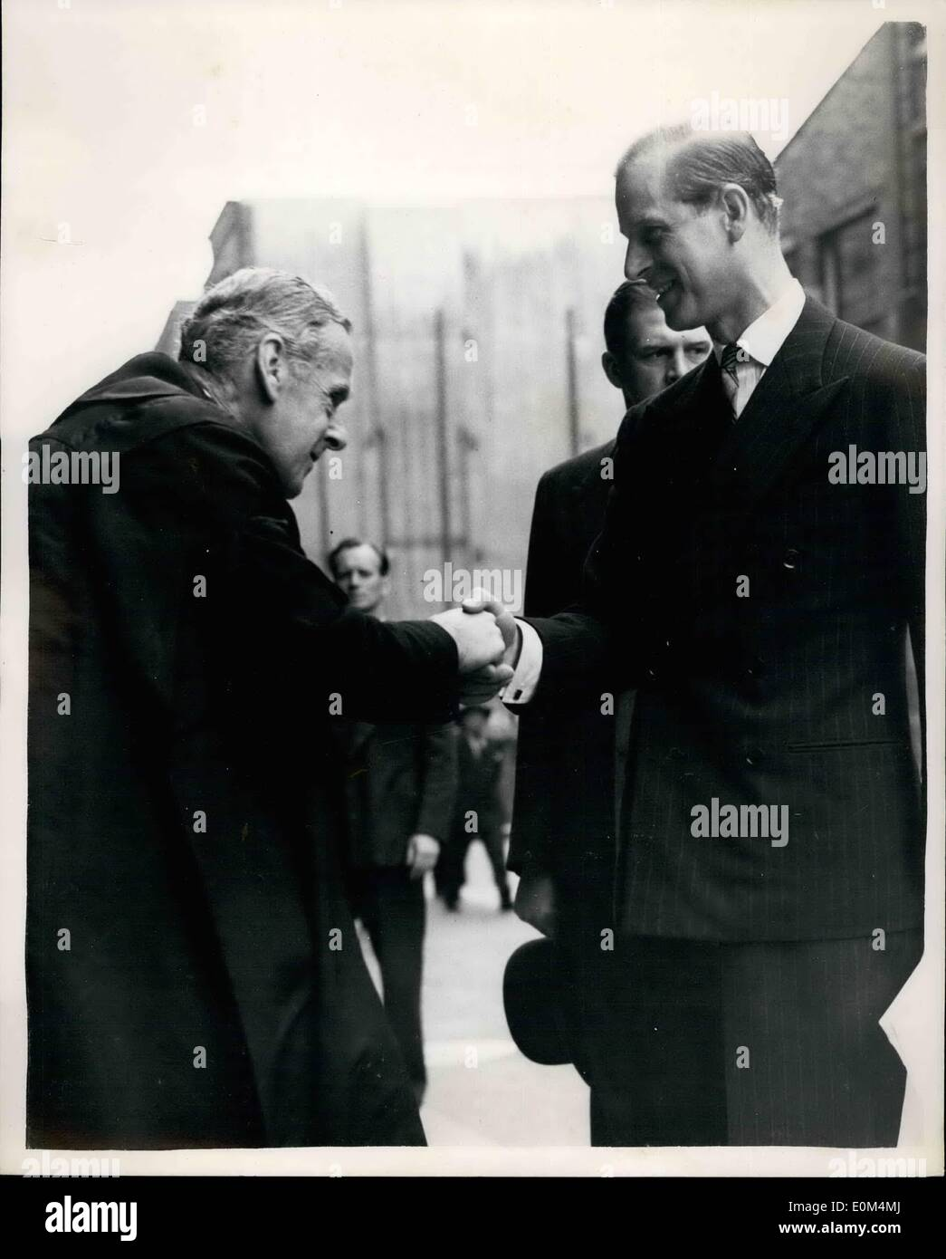 Jul. 07, 1953 - Duke of Edinburgh - second warden: The Duke of Edinburgh this morning attended a court of the Shipwright's Company, and was installed as Second Warden - at Vinters' Hall. Photo shows Mr. Friendley, Hon. Clerk of the Company, greeting the Duke of Edinburgh on his arrival. - Stock Image