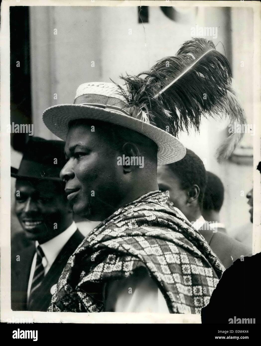 Jul. 07, 1953 - Nigerian Constitution Conference Opens in London. Chief F.S. Edah- With his Feather Trimmed Straw Hat: The Nigerian Constitution Conference Opened at 10. Carlton House Terrace, this afternoon under the leadership of Mr. Oliver Lyttleton the Colonial Secretary. Picture Shows: Wearing a unique straw hat and feather trimmings- is Chief F.S. Edah M.H.A. as he arrives at 10. Carlton House Terrace this afternoon. - Stock Image