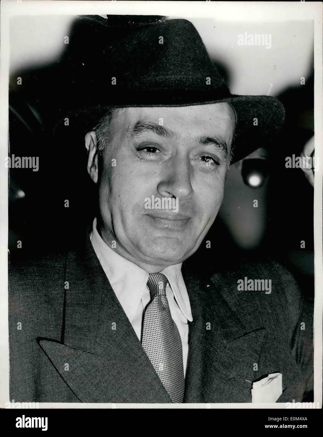 Jul. 07, 1953 - Hollywood's screen 'lover' leaves for the States. Charles Boyer.: Photo shows Charles Boyer the Hollywood screen 'lover' seen when he left Waterloo Station this morning on the Queen Mary Boat train - for New York. - Stock Image