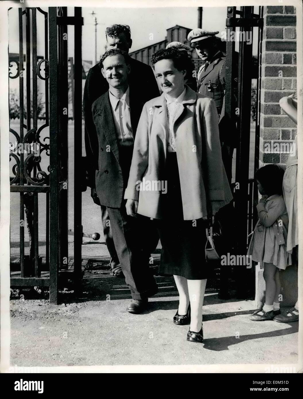 Aug. 08, 1953 - Rigden Under Close Arrest: Tony Rigden, 20-year old leading a aircraftman, whose disappearance in the Canal Zone caused an Anglo-Egyptian crisis, is under close arrest and guarded by R.A.P. police. No charge has been preferred against him. Rigden, a National Serviceman due to be demobised, was reported kidnapped in the Canal Zone seven weeks ago. Britain backed a demand for his return with strict control of traffic into Ismailia. Three days afterwards the controls were relaxed - Stock Image
