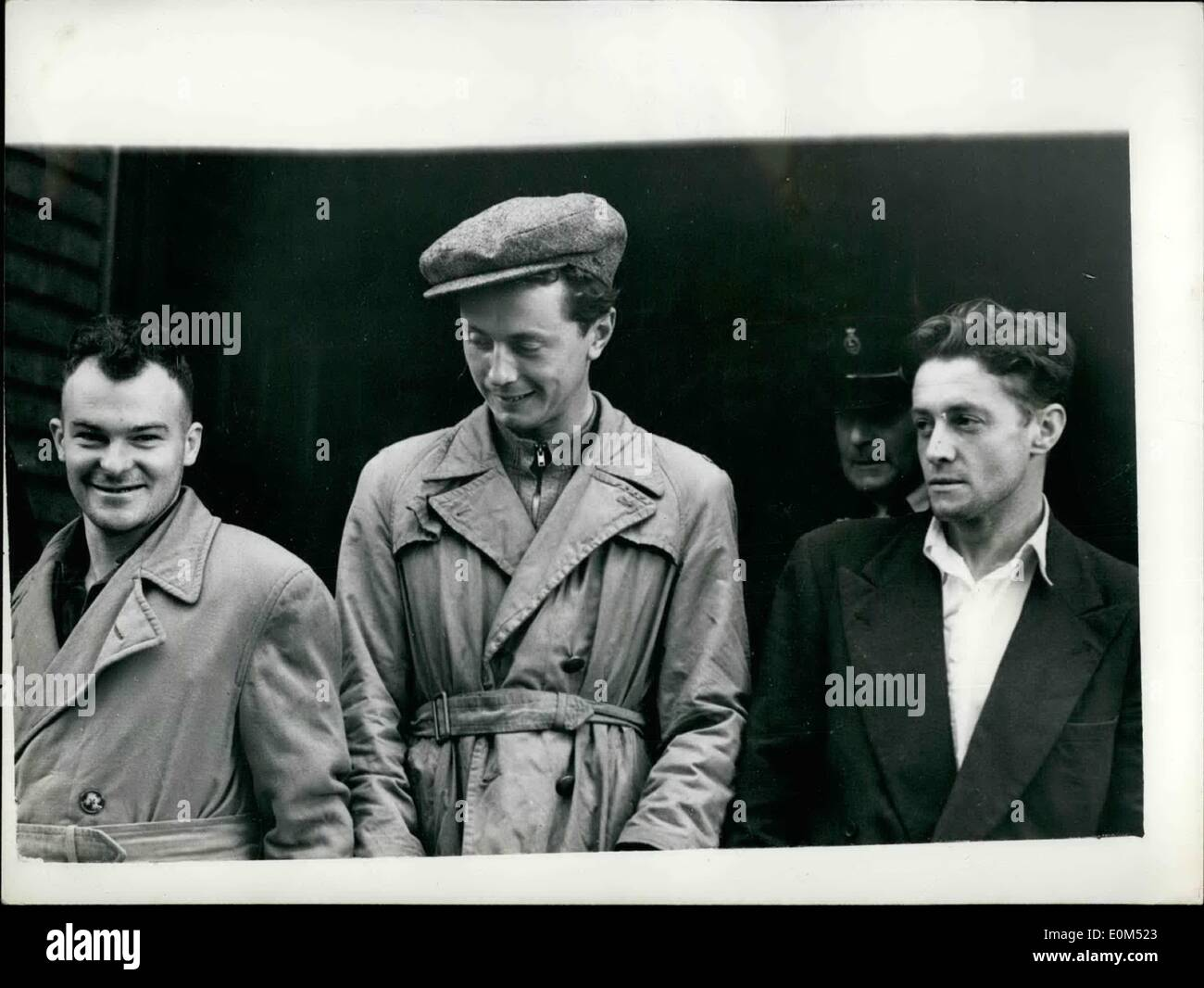 Aug. 08, 1953 - ''Rifles and Bombs Hidden in Van'' More serious charges to be brought.: The Police intend to bring a more serious charge against three men now on remand accused of being in possession of firearms - it was stated when they made their second appearances at Bishops Starford, Herbs. Today, Manus Canning (27) of Londonderry; Cathal Goulding (31) of Rathfranham, Co. Dublin and Sean Stephenson (25) of no fixed addressed were all remanded in custody. It was alleged that they were found at 3-20 a.m - Stock Image