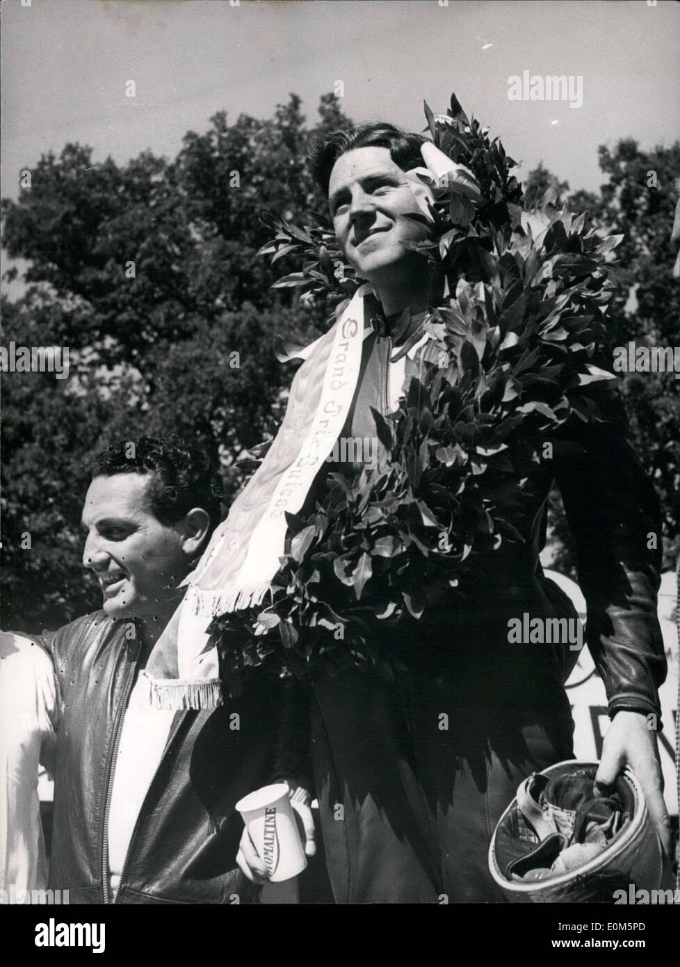 Aug. 24, 1953 - Duke Geoffrey is victorious is Bern! Englishman Duke Geoffrey achieved new success at the Grand Prix de Suisse in Bern, where he was first to cross the finish line. - Stock Image