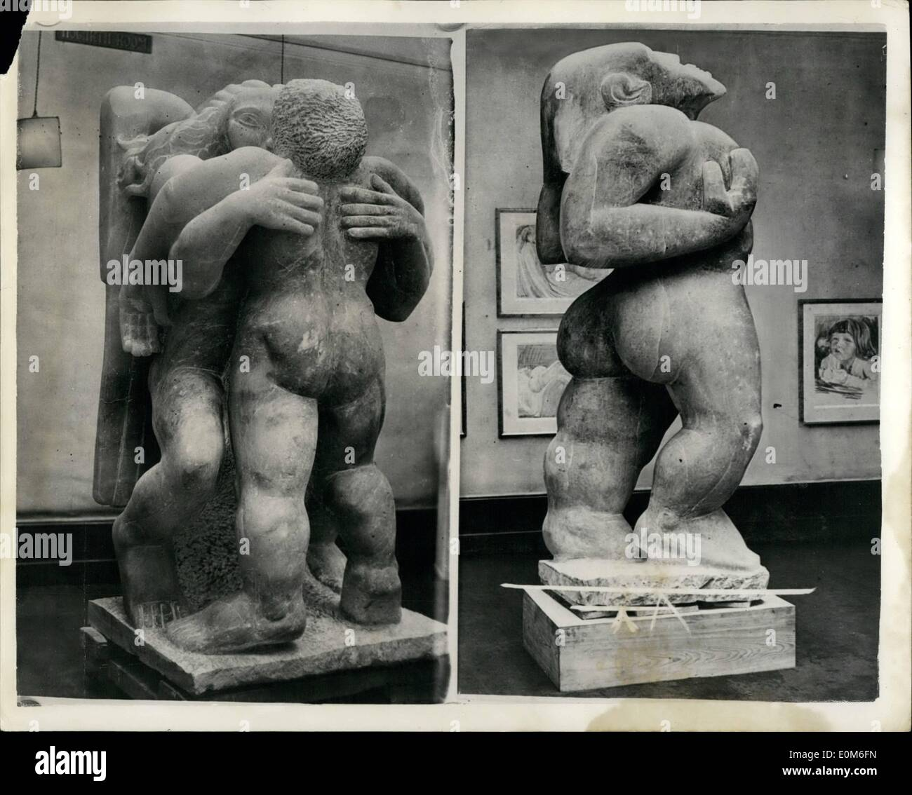 Sep. 09, 1953 - Ice cream man offers Epsteins for sale.: Jacob Epstein, the famous sculpto, said last night: ''Is am disgusted with the commercialisation of my art''. He had just been told that his three-ton alabaster statue of Adam and two more of his masterpiece were advertised for sale. Adam, the 7ft. symbolic interpretation of Man, which infuriated some people and enraptured others, then drew in the thousands as a sideshow, is in store. With him are Jacob and the Angel, and the advertisement - Stock Image
