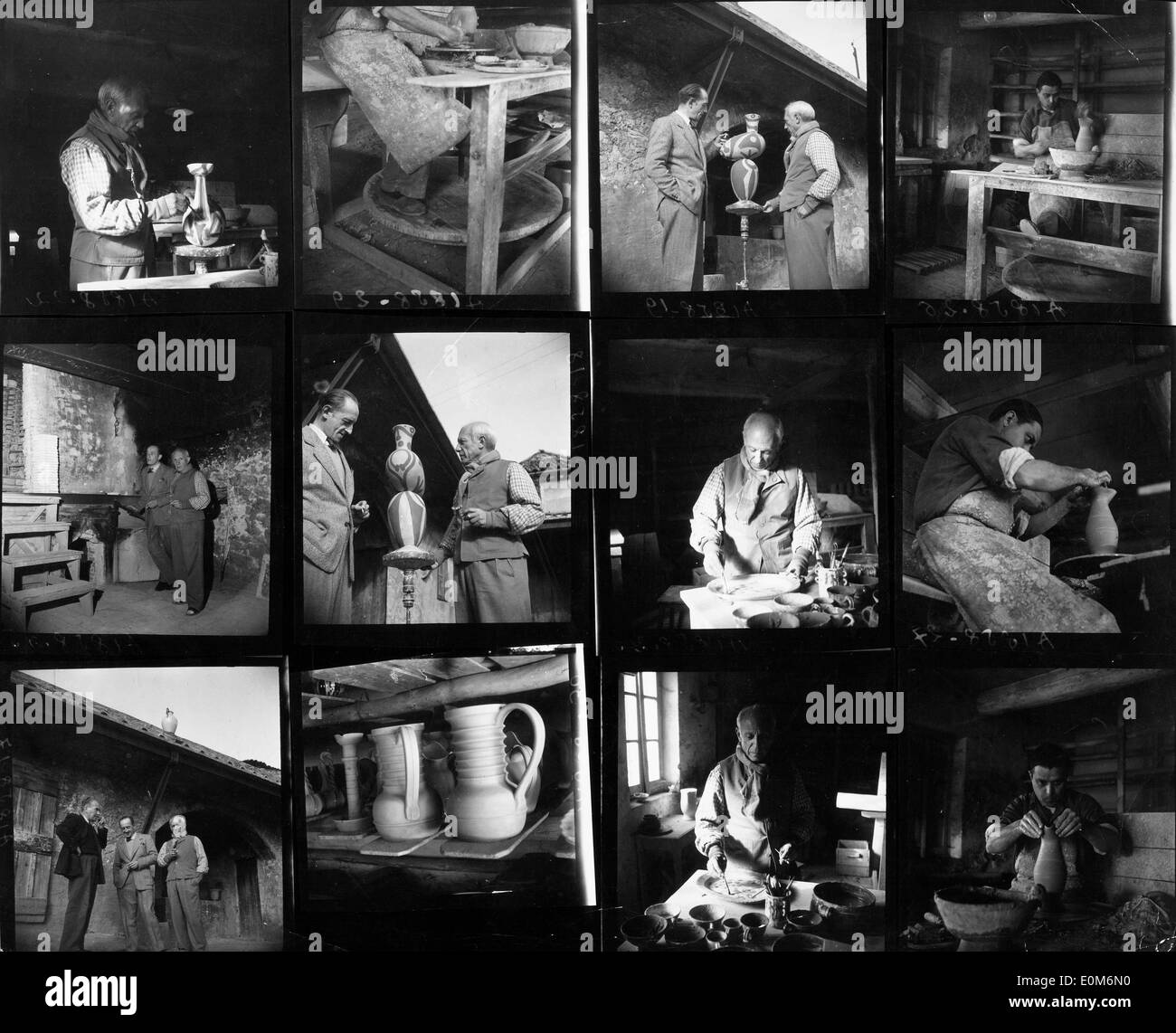 Series of photos of Pablo Picasso working on his pottery - Stock Image