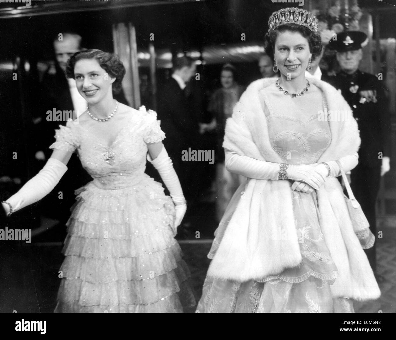 Queen Elizabeth II and Princess Margaret in ball gowns ...