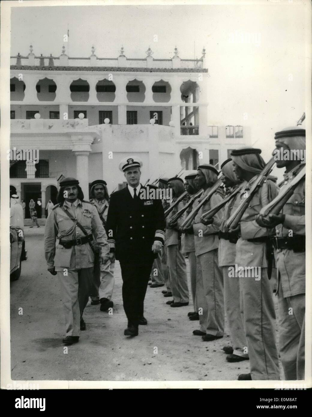 Dec. 12, 1953 - Unites State Naval Chief Visits King IBN Abdul Aziz of Saudi Arabia: Vice Admiral Jerauld Wright USN - Commander in Chief of United States Naval Forces, Eastern Atlantic and Mediterranean, inspect guards of honour at the Winter Palace, Jidda Saudi Arabia....The Admiral Aziz of Saudi Arabia during tour of Mediterranean and Middle East. - Stock Image