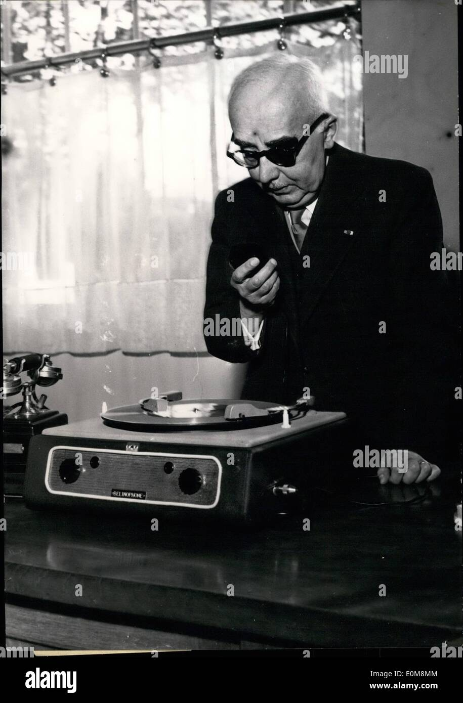 Feb. 02, 1954 - Here is the Belinophone: M. Edourd Belin, Sponsor of the ''Bilinographe''(telephoto device) presents now a new gadget: ''Beliophone'' designed for recording Telephone conversations in case the addressee is absent. Mr. Belin who is now 80 and the Belinophone. - Stock Image