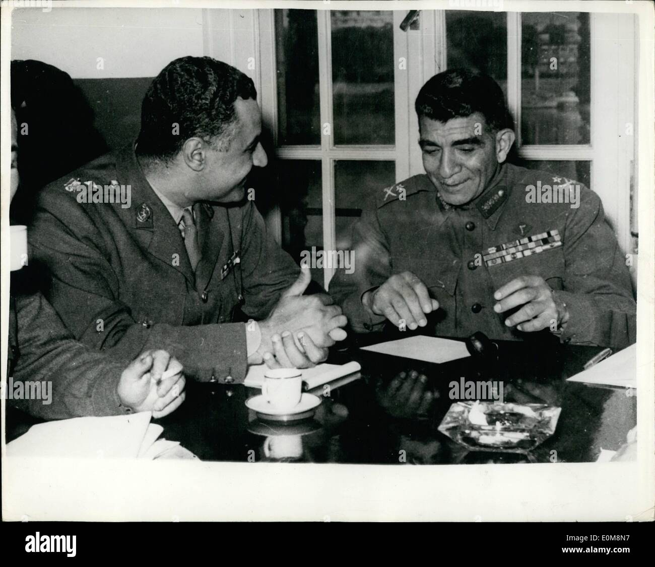 Feb. 02, 1954 - Colonel Nasser takes over in Egypt. Neguib Andis successor at recent meeting.: General Neguib whose - Stock Image