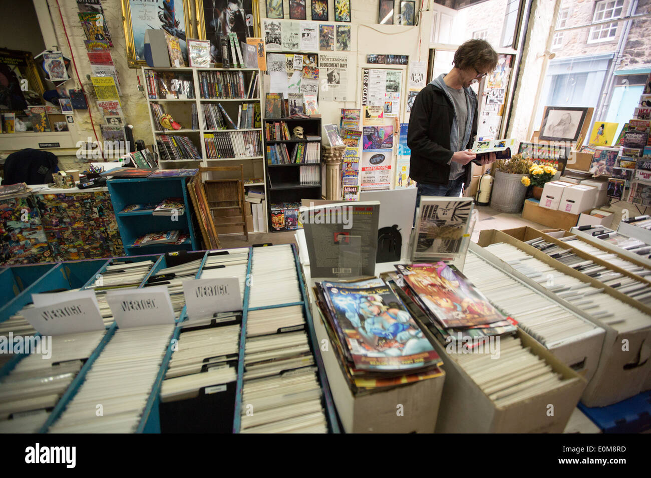 Deadhead Comics shop in Candlemaker Row, in Edinburgh, Scotland - Stock Image