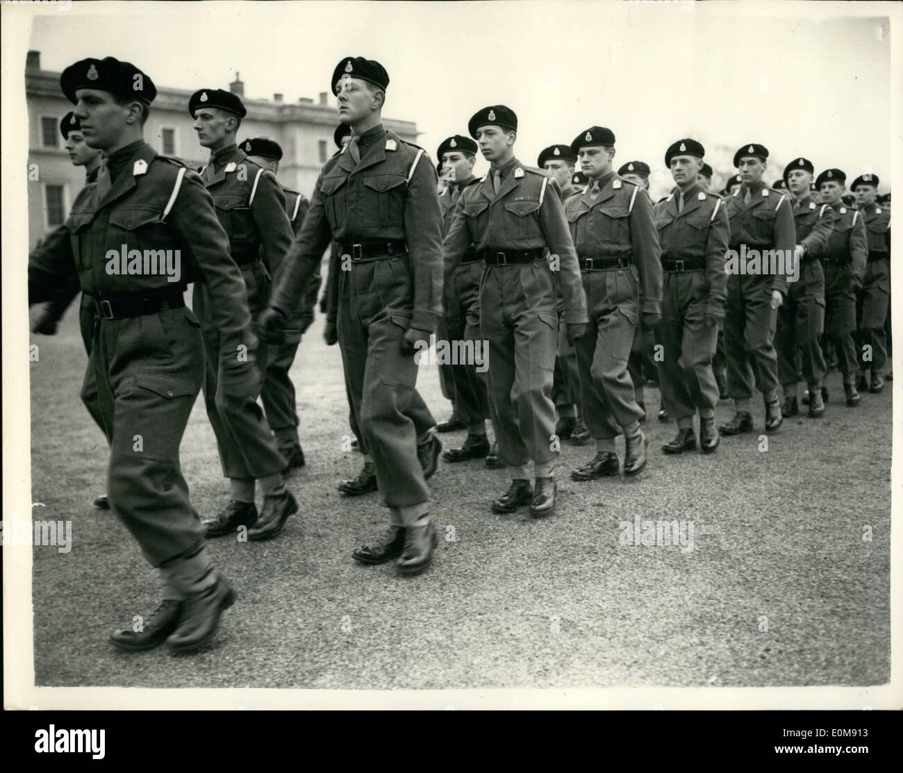 Feb. 02, 1954 - Sovereign's parade at RMA Sandhurst. the sovereign's parade at the royal military academy Sandhurst, was taken by Field Marshall the Earl Alexander of Tunis, Minister of defence, today. photo shows The Duke of Kent, who is in the Anzio company at Sandhurst, seen marching with the company at Sandhurst today. He can be seen in centre. - Stock Image